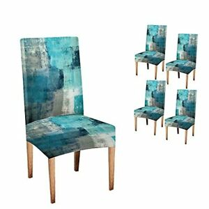 Turquoise Chair Cover Grey Abstract Art Chair Covers Dining Room 4 Grey Blue