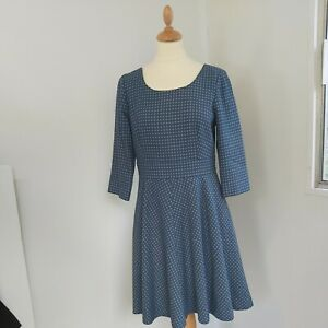 BODEN  Dress Size 12R A-LINE SKATER FIT FLARE wool blend 50s style lined