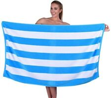 Luxury Cabana Stripe Velour Beach Towel, 100% Cotton, Soft and Absorbent - Aqua