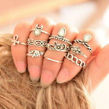 10 Rings Multiple Finger Stack Knuckle Midi Band Punk Silver Women Jewelry