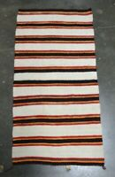 Navajo Banded Double Saddle Blanket - Hand Spun Wool; c. 1920