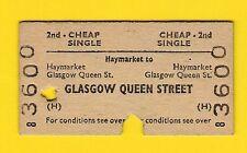 Railway Ticket ~ BR(H) 2nd Cheap Single - Haymarket to Glasgow Queen St - 1968