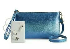 NWT Women's Crossbody Phone Charging Purse Clutch Sparkle Blue Android iPhone