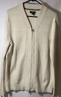 Alfani Mens Full Double Zip Long Sleeve Cardigan Sweater Off White Med Reg Fit