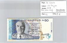 BILLET ÎLE MAURICE - 50 ROUPIES 1998 - PLIÉ SINON NEUF