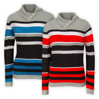 Womens Ladies Striped Funnel Neck Jumper Red Blue Casual Collared Sweater Top