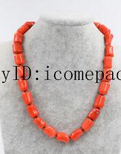 "coral pillar orange 16-18mm necklace 19"" nature wholesale beads baroque"