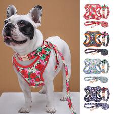 Fashion Flower Pet Dog Harness&Lead&Personalised Collar Set Nylon Reflective S-L