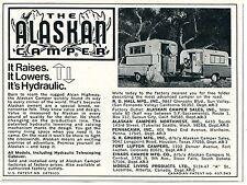 1971 small Print Ad of The Alaskan Camper Pickup Truck Bed it's hydraulic