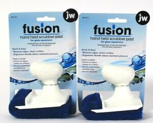 2 Count JW Pet Fusion 21271 Easy Use Hand Held Scrubber Pads For Glass Aquariums