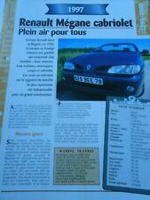 Renault Mégane Cabriolet 1997 Fiche Technique Auto