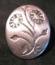 SWEET SMALL OVAL BUTTON WITH FLOWERS TESTS AS SILVER 1.5 CMS TALL