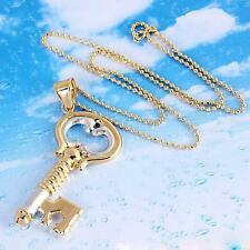 18k Multicolor Gold Plated  Key Pendant Sweater Necklace -70cm