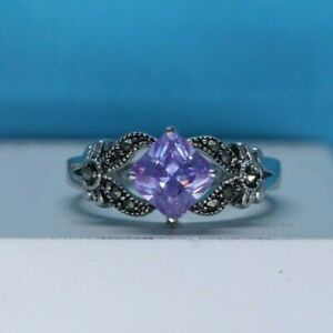 Simulated Amethyst and marcasite Estate style ring Ring, size 8 3/4