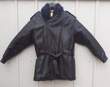 mens M black leather Golden Goose jacket with zip-off fake fur collar belt