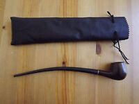 """Closeout Wood 10"""" Long Smooth Churchwarden Smoking Tobacco Pipe With Pouch"""