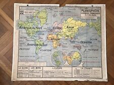 Carte scolaire Vidal Lablache n°22 Planisphère Colonies Françaises
