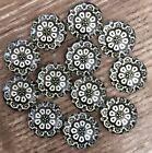12x 12mm Round Resin Cabochon Floral Pattern Black Cream Flatback Embellishments