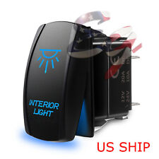 LED Waterproof BLUE ROCKER SWITCH LASER ETCHED 12v 20a LED INTERIOR LIGHT CAR