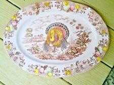 """Vintage Thanksgiving Tom Turkey Platter Transfer-Ware 16"""" X 12"""" Japan Multicolor"""