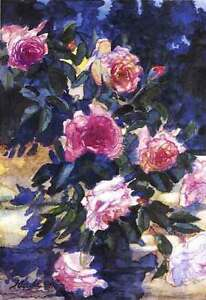 Roses on a Rock Wall, Jean Accola 2002 print