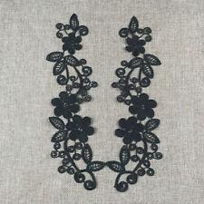 2pcs Embroidered Venise Appliques Floral Dress Trim Guipure Patches Black