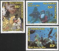 Polinesia Francesa 1991 Navidad Saludos// Natividad/Cuna Figuras/Buceo 3 V n45228