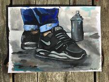 Peinture unique signée - graffiti sneakers nike street art dessin tableau canvas