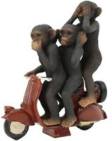 3 Wise Monkeys on Scooter - Modern Resin Home Ornament See Speak Hear No Evil