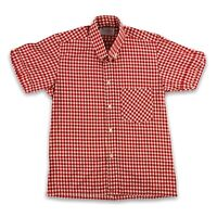 """Men's Gingham Short Sleeve Red and White Small 36"""" Shirt With Collar Made in Eng"""