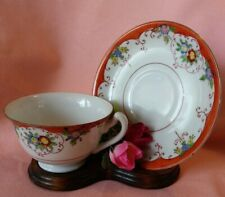 Vintage Handpainted Florals Tea Cup & Saucer Set Japan