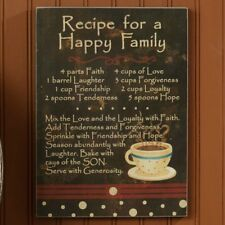 Primitive Black Aged Wooden Sign```Recipe For A Happy Family`...Love Laughter .
