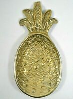 """Vtg Solid Brass 3D PINEAPPLE 8"""" Candy Dish Trinket Tray Bowl"""