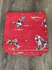 "VTG POTTERY BARN RED ""FOOTBALL"" FULL SIZE FLAT SHEET"