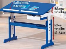 SCHREIBTISCH MDF / Massivholz, weiß / blau, höhen- und neigungsverstellbar NEU