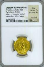 383-408 AD ARCADIUS - Eastern Roman Empire *NGC AU* Gold Solidus Coin!