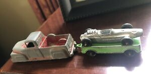 Tootsietoy Travel Outfit - 3 Piece 1968 Flatbed Trailer/Racer/Truck