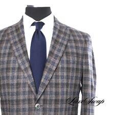 #1 MENSWEAR Epaulet x Southwick Cashmere Wool Greige Blue Brown Plaid Jacket 41L