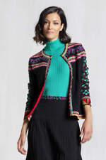 Ivko knitwear Strick-Jacke Cardigan Geometric Pattern rot schwarz 72616