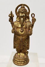 Antique Vintage Sand Cast Brass Bronze Gilt Ganesha Standing Figure