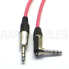 """5m 90deg Stereo TRS 1/4"""" Jack Guitar Lead Cable Red Right Angle to Straight"""