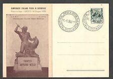 Cartolina 1953 Campionato Italiano Pesca in Superficie Lecco Annullo Speciale