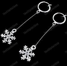 CLIP ON dangle CRYSTAL SNOWFLAKE EARRINGS rhinestone SILVER PLATED hoop clips