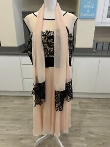 Berkertex Mother Of The Bride Light Pink And Black Lace Dress Size UK 22. B1