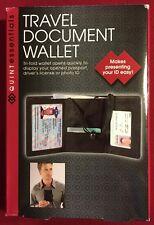 NEW - Quint Essentials Tri-Fold Travel Document Passport ID Wallet Holder Black