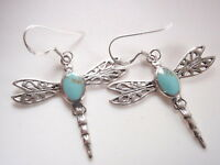 Blue Green Turquoise Dragonfly Filigree 925 Sterling Silver Dangle Earrings