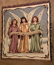"Martha Stewart Tapestry Throw Blanket Wall hanging 46"" x 52"" Angels Christmas"