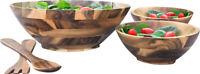 Handmade Acacia 5 Piece Wood Salad Bowl Set