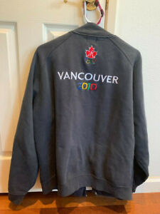 Roots XL Olympic 2010 Vancouver zipper sweat jacket blue
