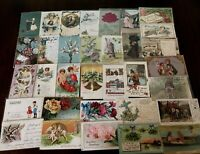 ~Lot of 40 Antique 1900's ~Mixed Topics Greetings Postcards~All with stamps-h436